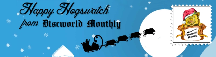 Discworld Monthly Logo. Luggage illustrated by Ink A Doodle Doo